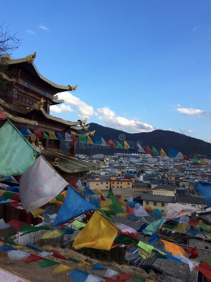 De tempel van Tibet in Shangrila-stad, China stock afbeeldingen