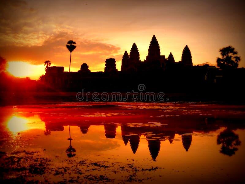 De Tempel van Wat van Angkor - Siem oogst - Kambodja stock foto