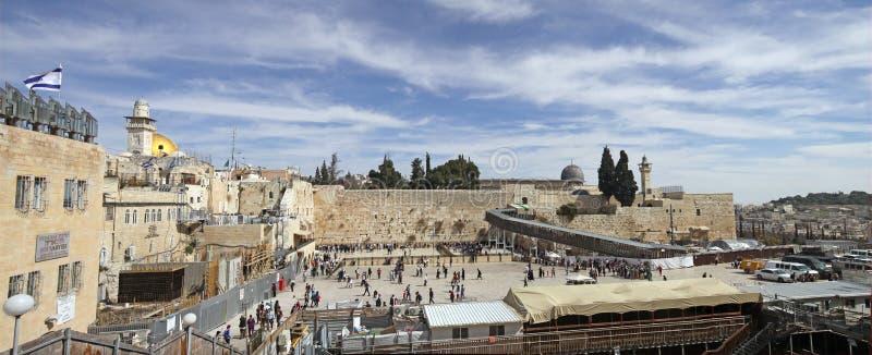 De tempel zet, Westelijke Muur, Mughrabi-Brug, Moskee al-Aqsa op royalty-vrije stock afbeelding