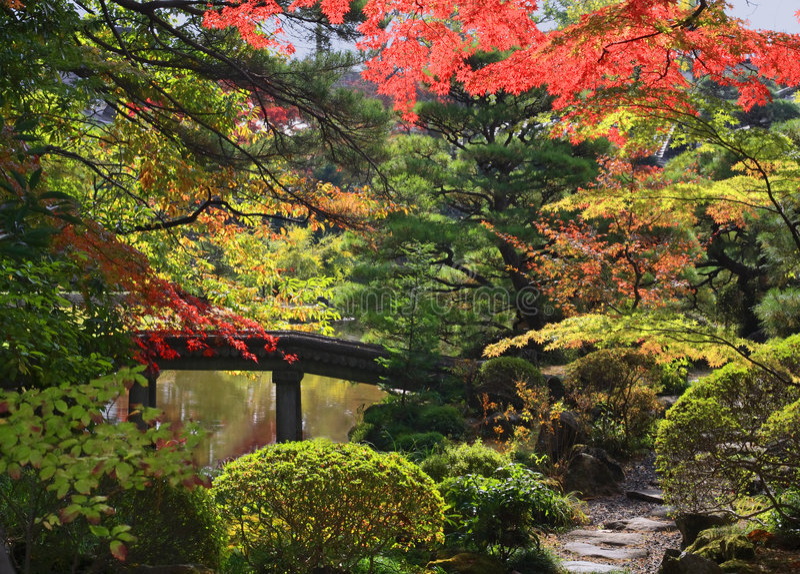 De tempeltuin van Rinoji royalty-vrije stock foto's