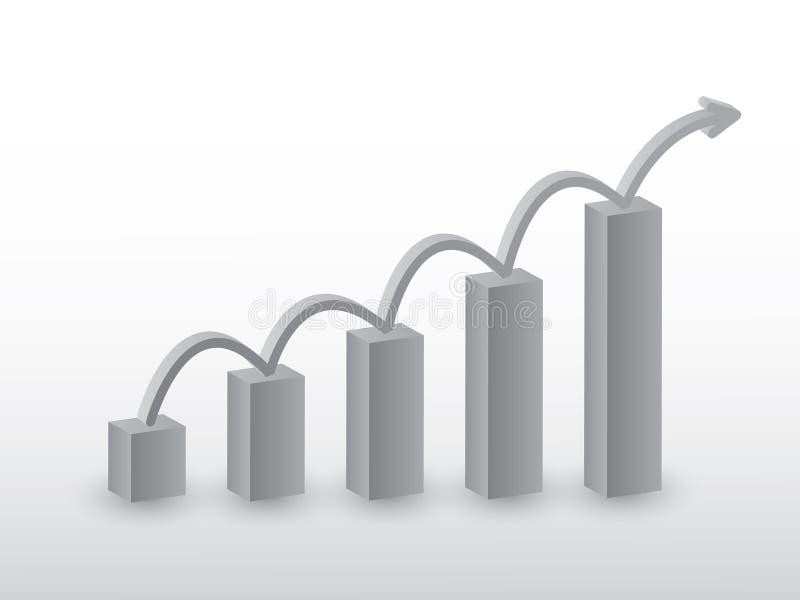 De tendens die van de verkoopgroei staafdiagram voor succesvolle bedrijf vectorillustratie gebruiken in grijze kleur voor zaken vector illustratie