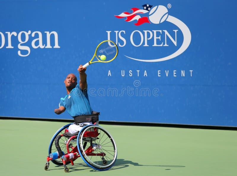 De tennisspeler Lucas Sithole van Zuid-Afrika tijdens de vierling van de US Open 2014 rolstoel kiest gelijke uit royalty-vrije stock afbeeldingen