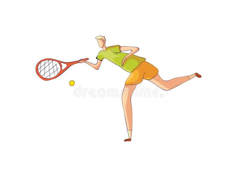 De tennisspeler raakt de bal Vector illustratie op witte achtergrond vector illustratie