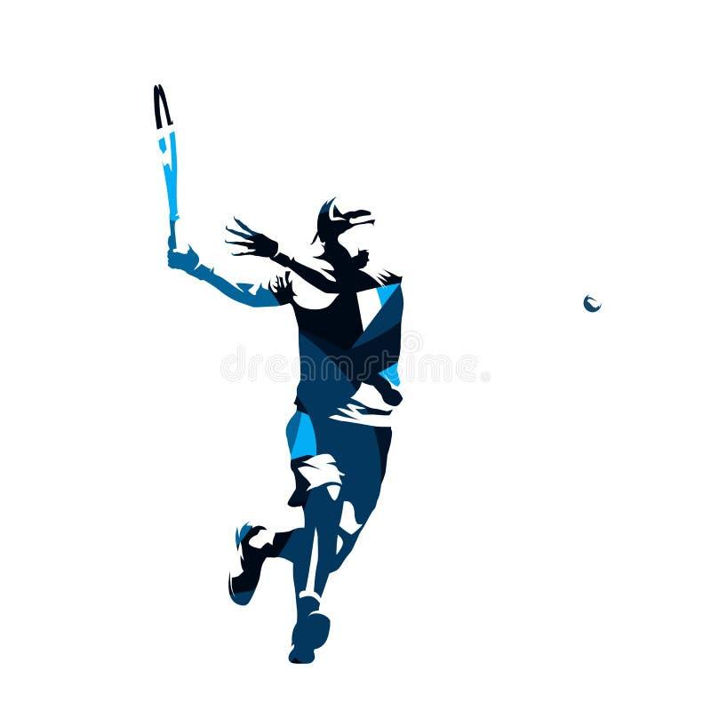 De tennisspeler, vat blauw geïsoleerd silhouet samen stock illustratie