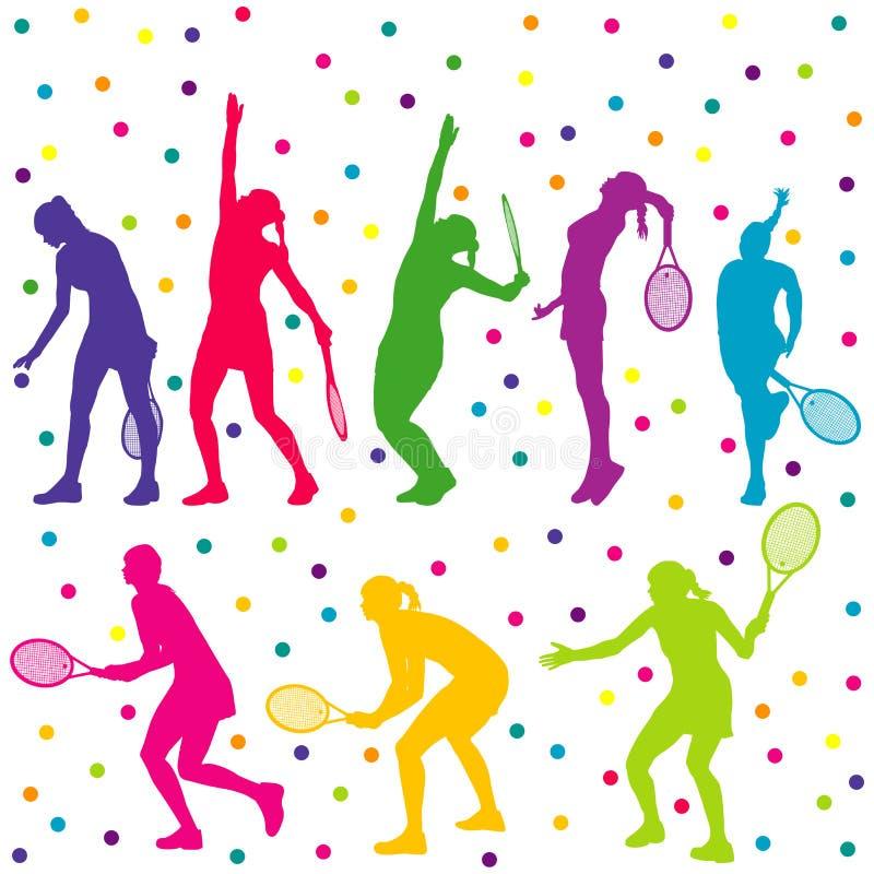 De tennisspelers silhouetteren inzameling stock illustratie
