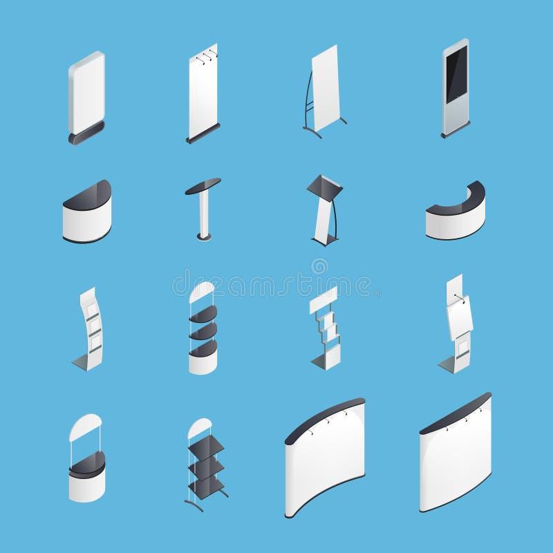 De tentoonstelling bevindt zich Isometrische Geplaatste Pictogrammen stock illustratie