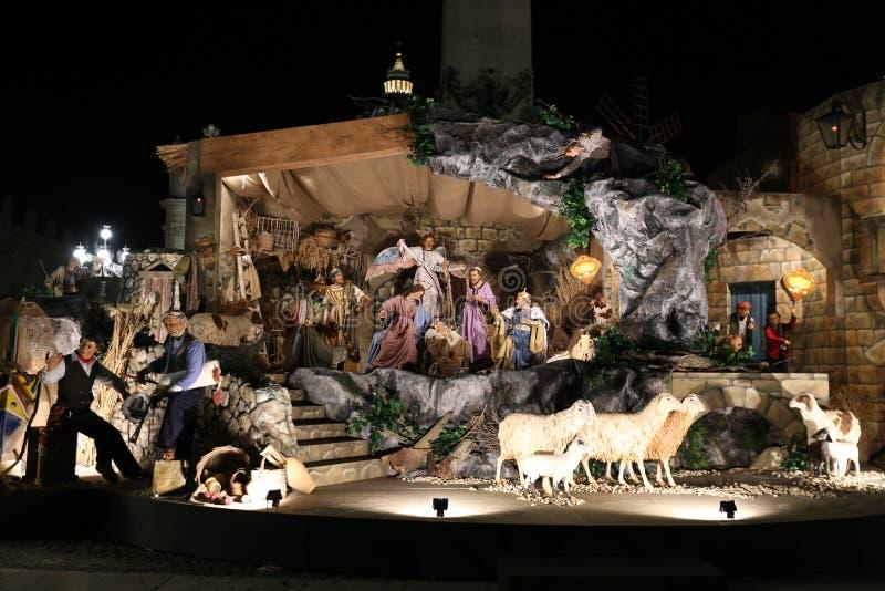 De tentoonstelling van de Geboorte van Christusscène in Vatikaan royalty-vrije stock afbeeldingen