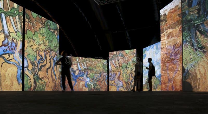 De tentoonstelling Van Gogh Alive Heilige Petersburg r royalty-vrije stock afbeeldingen