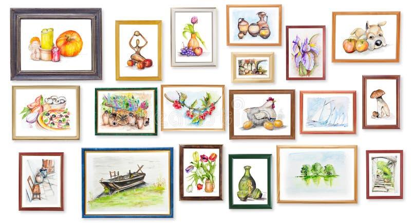 De tentoonstelling van kinderen van waterverfarts. vector illustratie