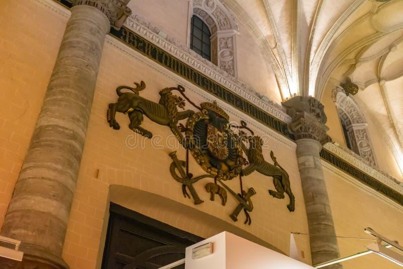 De tentoonstellingszaal van La Lonja in Zaragoza, Spanje stock foto