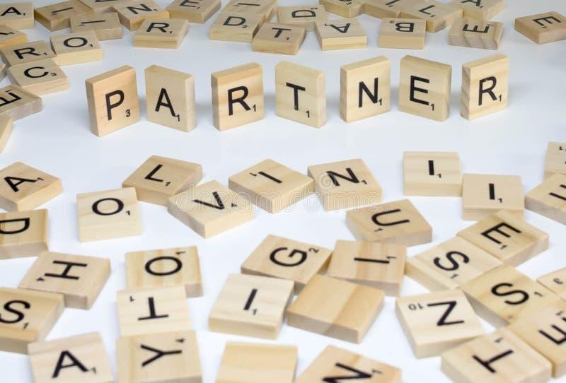 De term houten van het abc personeelsbeheer partner stock foto