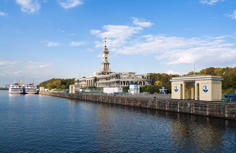 De Terminal of Rechnoy Vokzal van de het noordenrivier in Moskou Rusland stock foto's