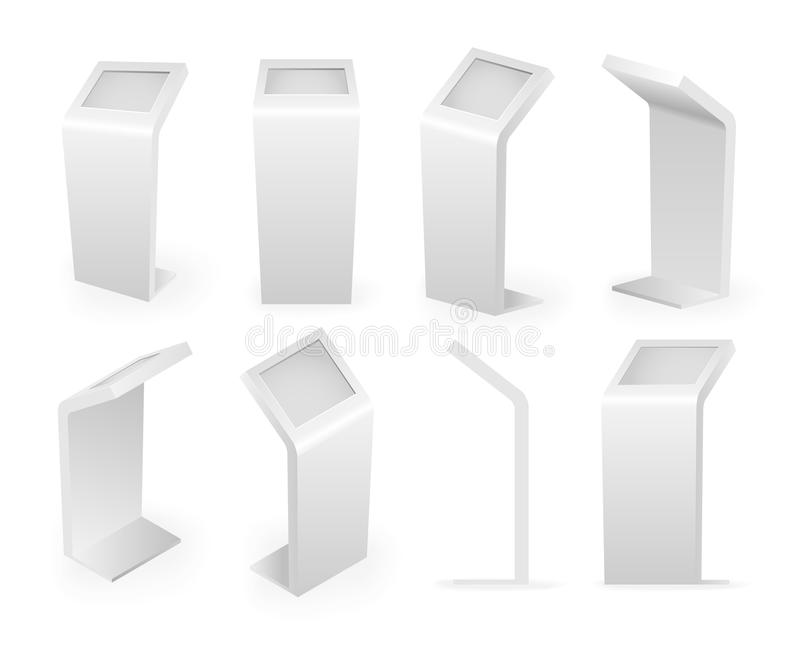 De terminal van betalingskiosken isoleerde van het de aanrakingsscherm van de pictogrammen isometrische reeks digitale interactie vector illustratie