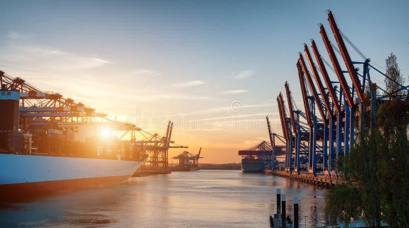 De Terminal van de container in Hamburg stock foto's