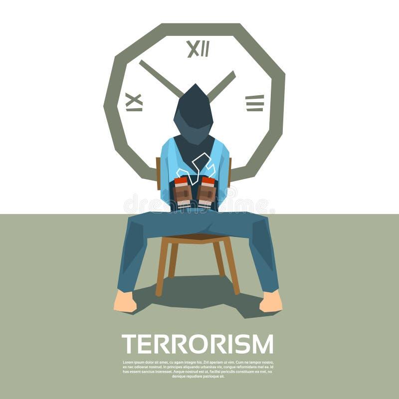 De terrorismegijzelaar blinddocht met Bomtijdopnemer royalty-vrije illustratie
