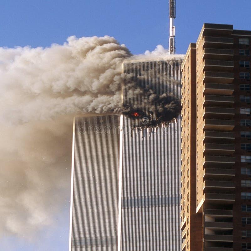 De terroristenaanval van het World Trade Center stock foto's