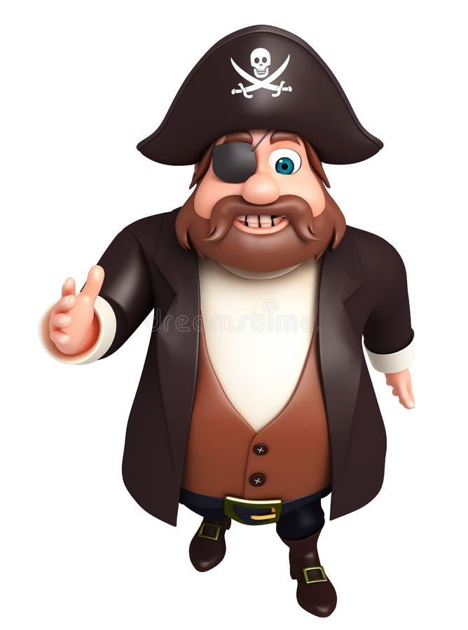 De teruggegeven illustratie van piraat het lopen stelt stock illustratie