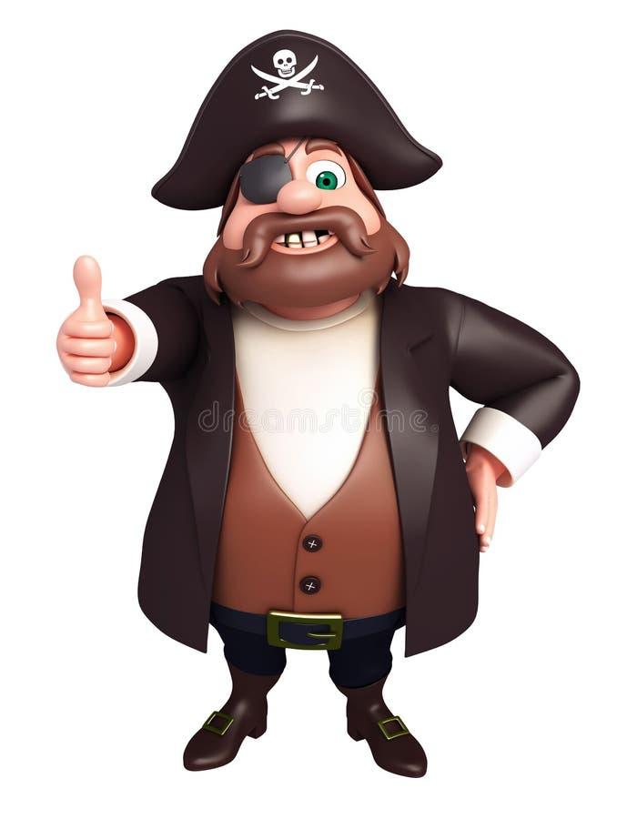 De teruggegeven illustratie van piraat met duimen stelt omhoog stock illustratie