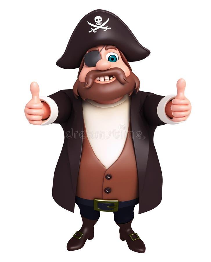 De teruggegeven illustratie van piraat met duimen stelt omhoog vector illustratie