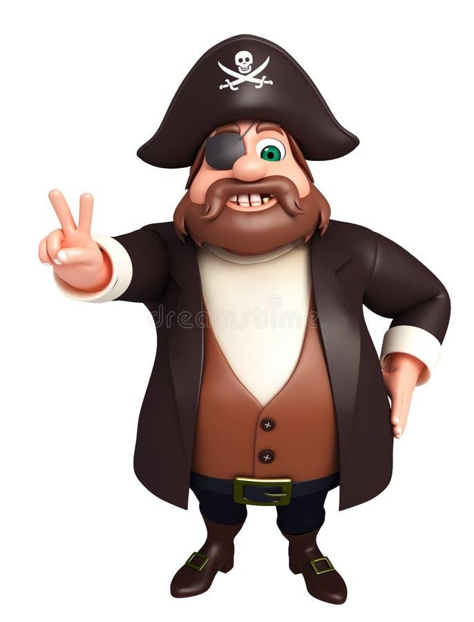 De teruggegeven illustratie van piraatoverwinning stelt royalty-vrije illustratie