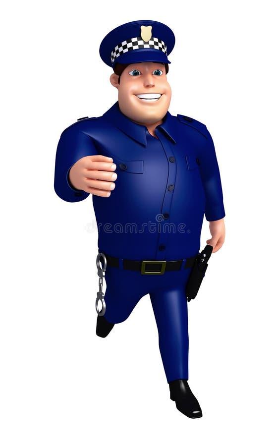 De teruggegeven illustratie van Politie het lopen stelt vector illustratie
