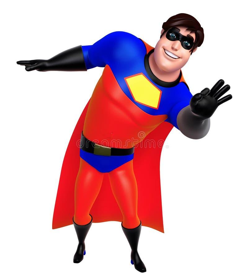 De teruggegeven illustratie van superhero met grappig stelt royalty-vrije illustratie