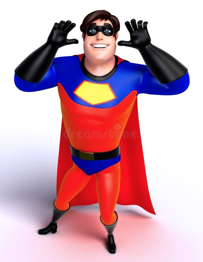 De teruggegeven illustratie van superhero met grappig stelt stock illustratie