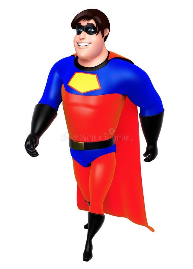 De teruggegeven illustratie van superhero met het lopen stelt stock illustratie