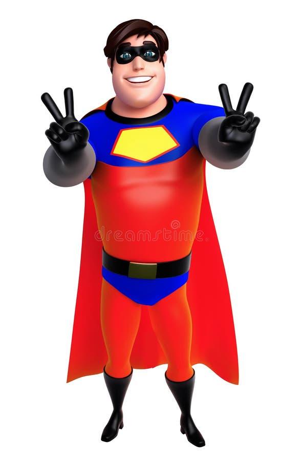 De teruggegeven illustratie van superhero met Overwinning stelt vector illustratie