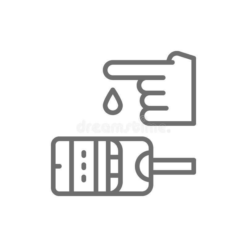 De test van de bloedsuiker, glucometer, glucose, het pictogram van de diabeteslijn vector illustratie