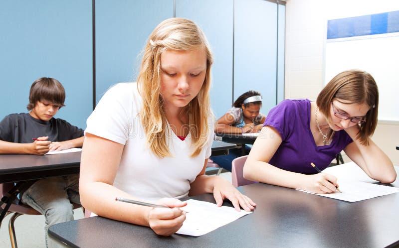 De Test van de middelbare schoolklasse stock afbeelding