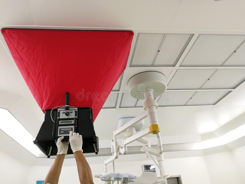 De test van de luchtstroom voor het tarief van de de luchtverandering van VAV en het berekenen royalty-vrije stock foto