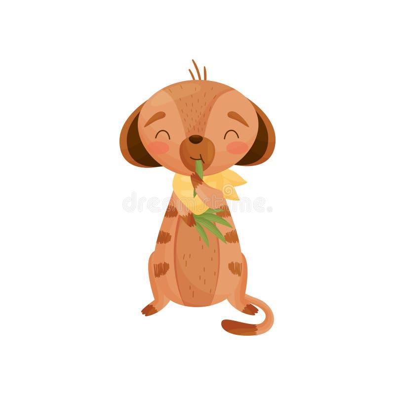 De tevreden vermenselijkte grondeekhoorn eet gras Vector illustratie op witte achtergrond royalty-vrije illustratie