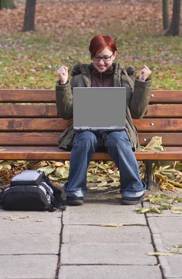 De tevredenheid van de computer stock afbeelding