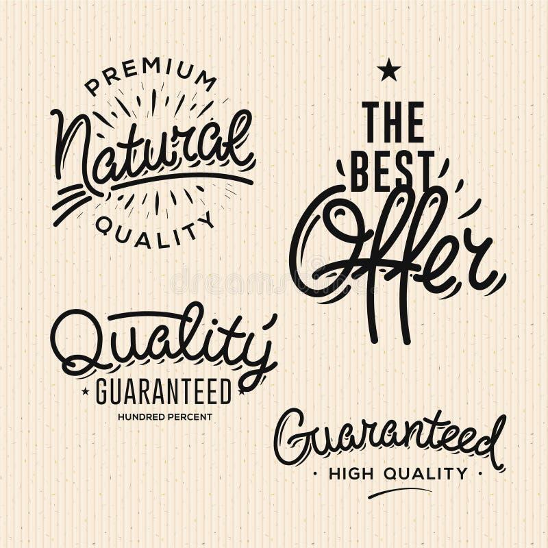De tevredenheid waarborgde uitstekende premiekwaliteit zwarte etiketten, kentekens, embleem, reeks, vectorillustratie stock illustratie