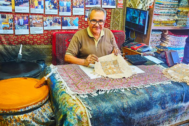 De textieltechniek van de handdruk, Isphahan, Iran stock fotografie