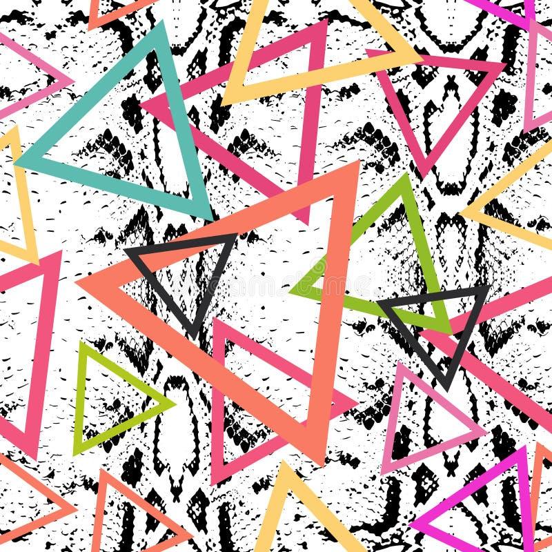 De textuur naadloos patroon van de slanghuid zwarte magenta oranje roze purpere blauwdruk, de etnische moderne in Geometrische ab stock illustratie