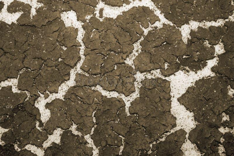 De textuur van de bodem van het reservoirzand en de accumulatie van slib op bovenkant Achtergrond toning stock afbeelding