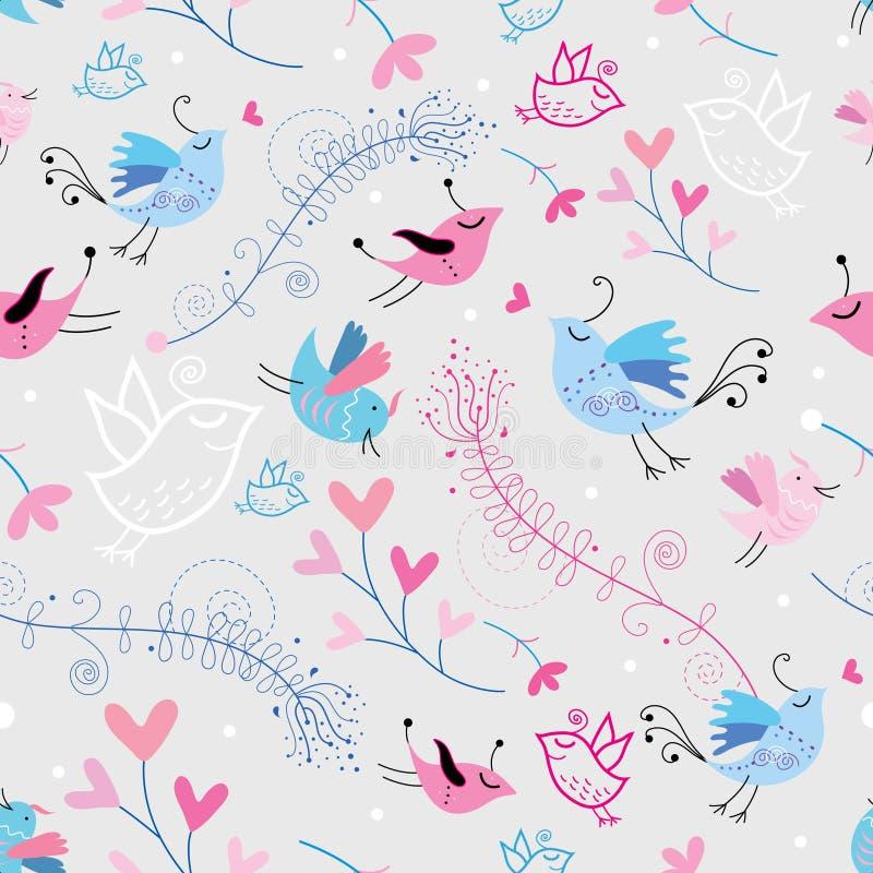 De textuur van de bloem met vogels royalty-vrije illustratie
