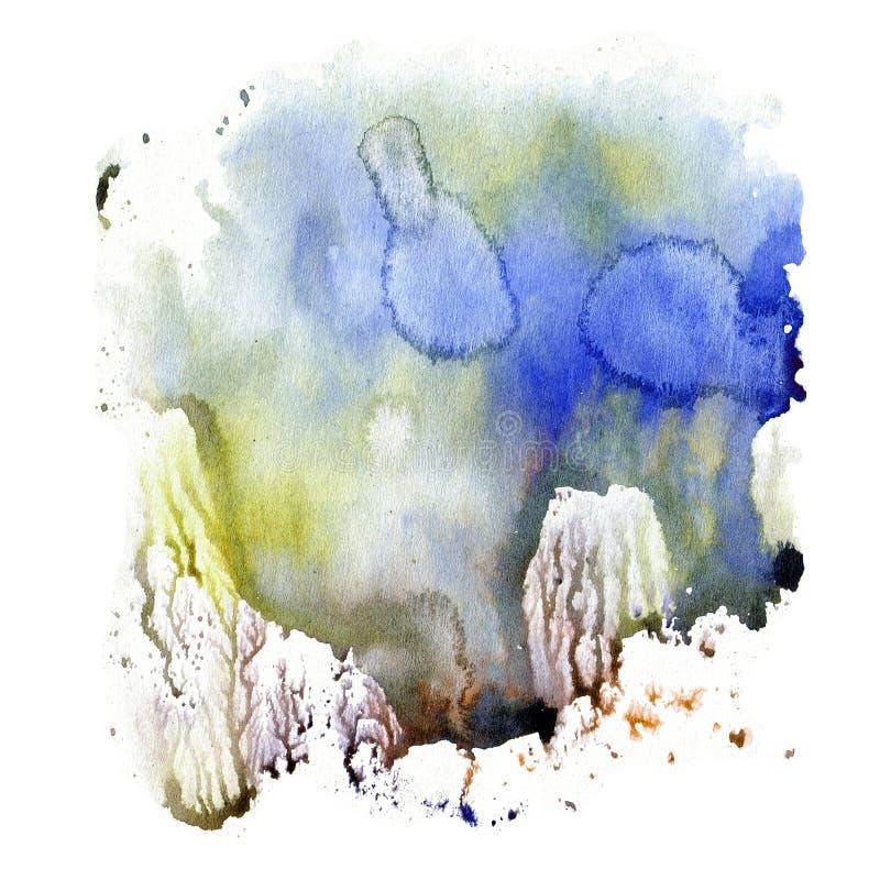 De textuur van de illustratiewaterverf van transparante blauwe, bruine, en grijze kleuren Vult de waterverf abstracte achtergrond stock illustratie