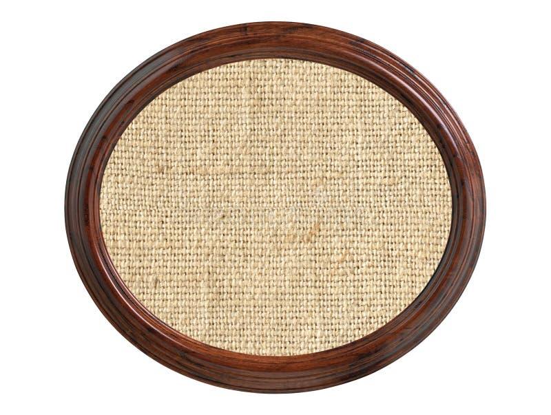 De textuur van de linnenjute in houten die kader op wit wordt geïsoleerd royalty-vrije stock fotografie