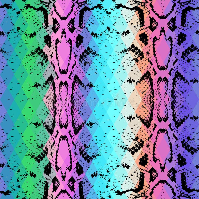 De textuur van de slanghuid met gekleurde ruit Geometrische Achtergrond De naadloze groene purpere blauwe gele achtergrond van de royalty-vrije illustratie