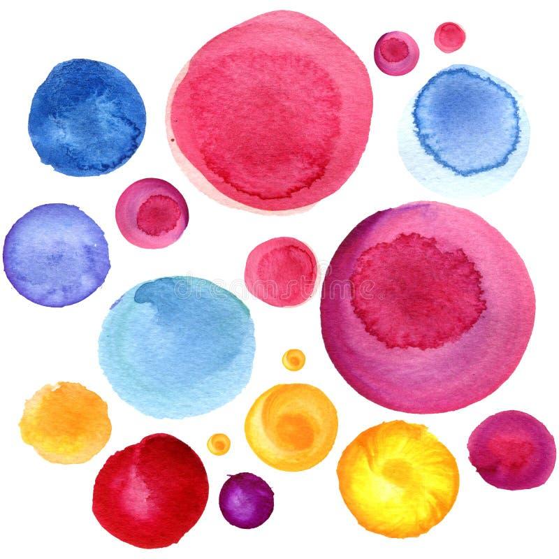 De textuur van de waterverfcirkel Ronde elementen voor ontwerp De gekleurde cirkels overhandigen getrokken achtergrond vector illustratie
