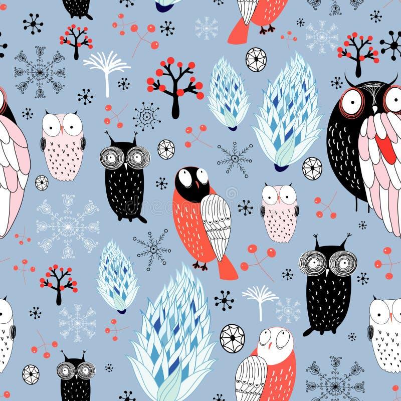 De textuur van de winter van uilen en sneeuwvlokken vector illustratie