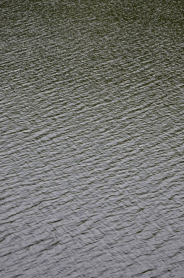 De textuur van donker die rivierwater onder de invloed van wind, in perspectief wordt gestempeld Verticale Imag stock afbeelding