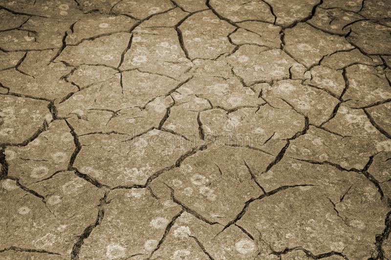 De textuur van het barsten van de aarde Het concept het gebruiken van natuurlijke rijkdommen toning stock afbeeldingen