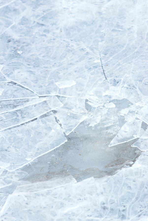 De textuur van het ijs met barsten stock fotografie