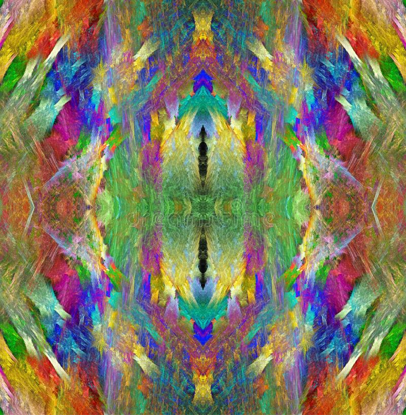 de textuur van het regenboogkristal Heldere Multicolored Achtergrond Fractal abstractie Symmetrisch naadloos patroon royalty-vrije illustratie