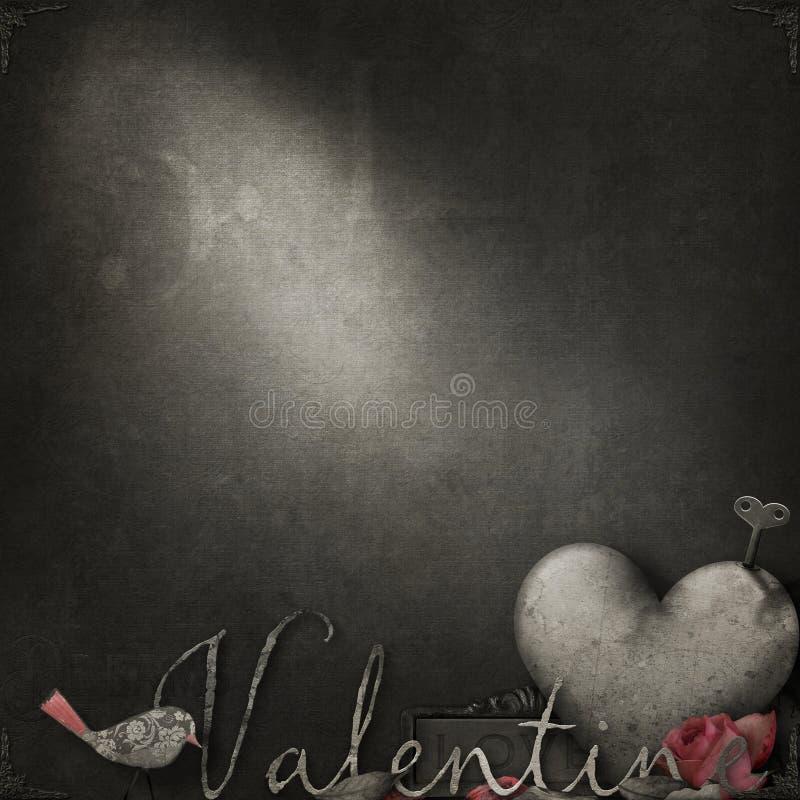 De textuur van de hoogbouw in sepia met romantische thematische elementen voor Valentine stock afbeeldingen