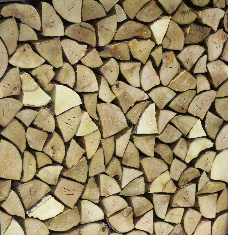 De textuur van hout, vat houten muur van woodpile samen royalty-vrije stock afbeeldingen